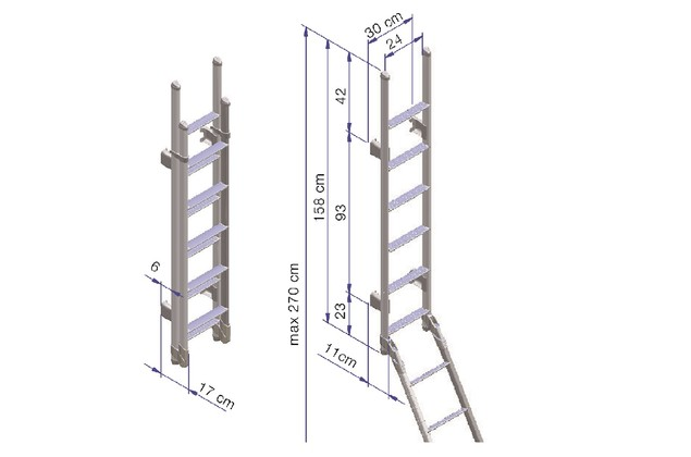 Thule Ladder Deluxe Double 11 Steps Foldable dimensions